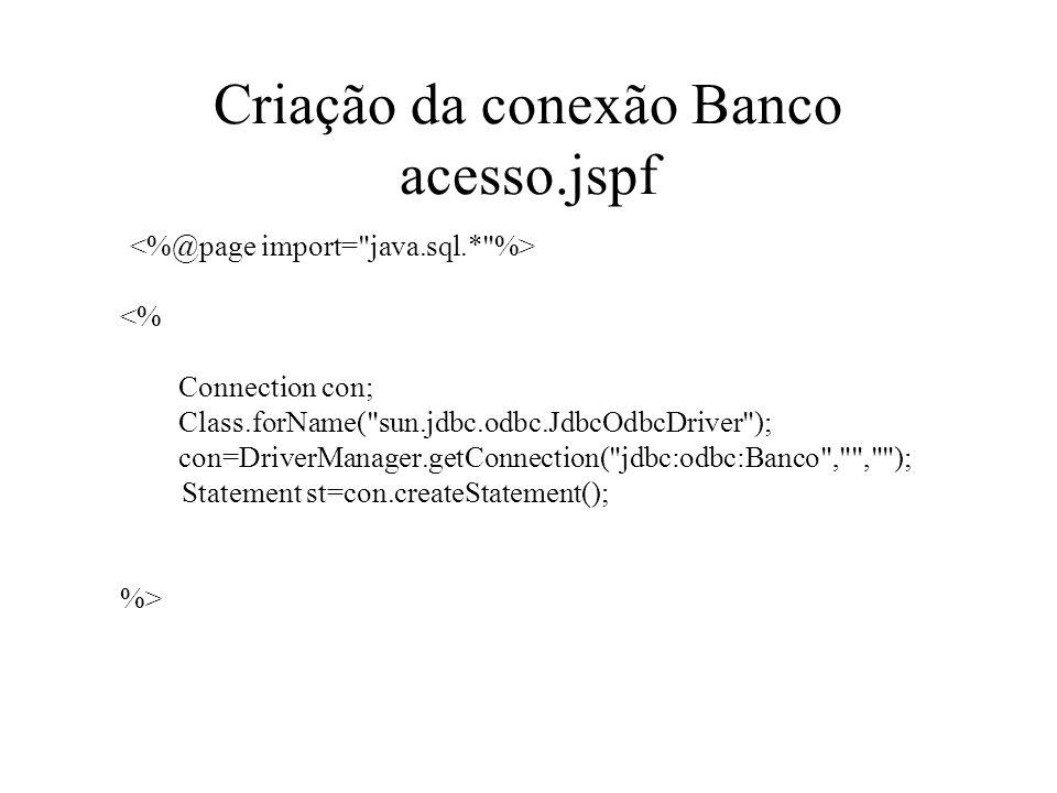 Criação da conexão Banco acesso.jspf
