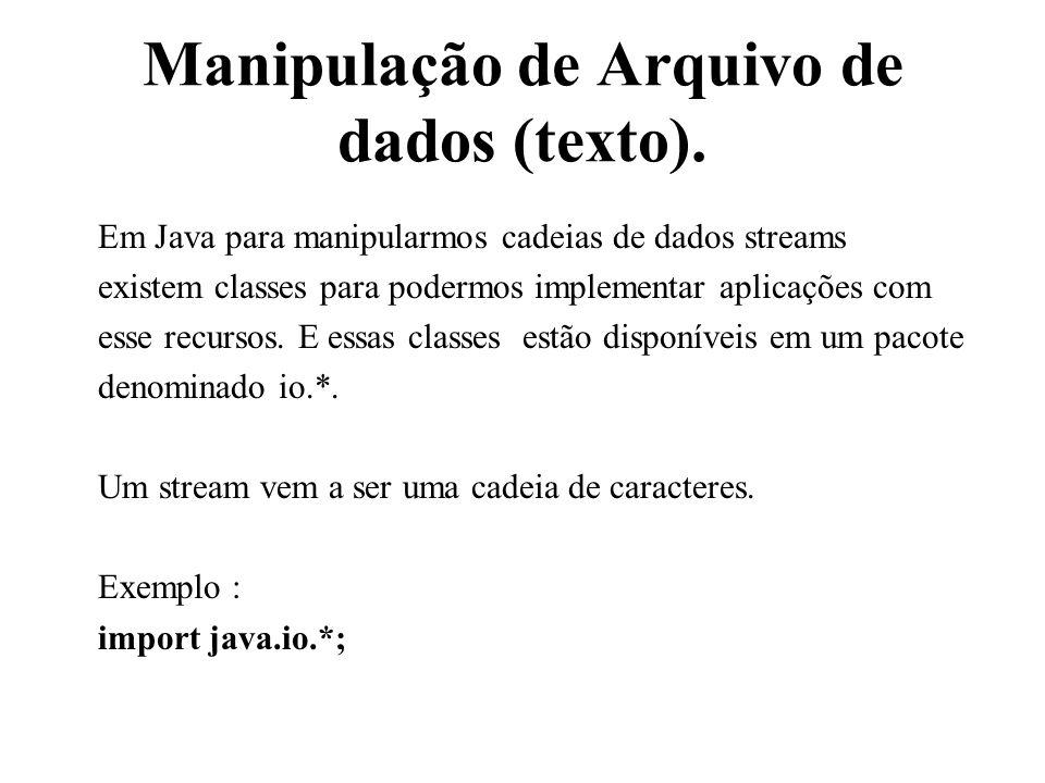 Manipulação de Arquivo de dados (texto).