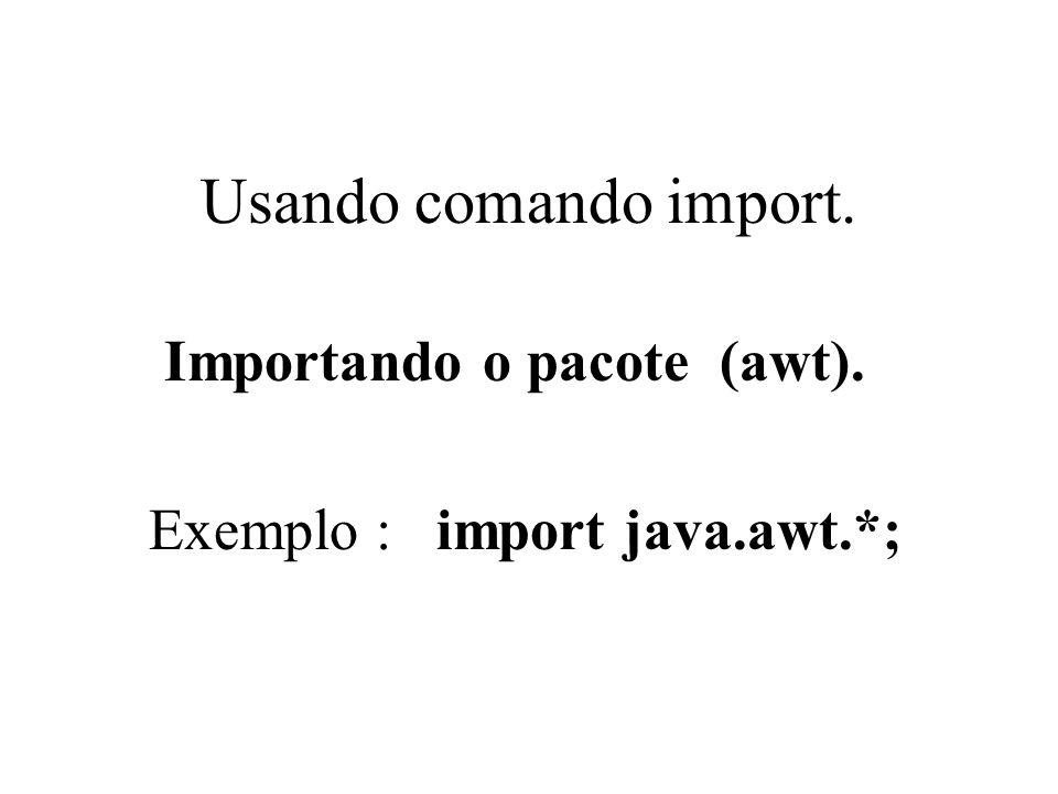 Usando comando import. Importando o pacote (awt).