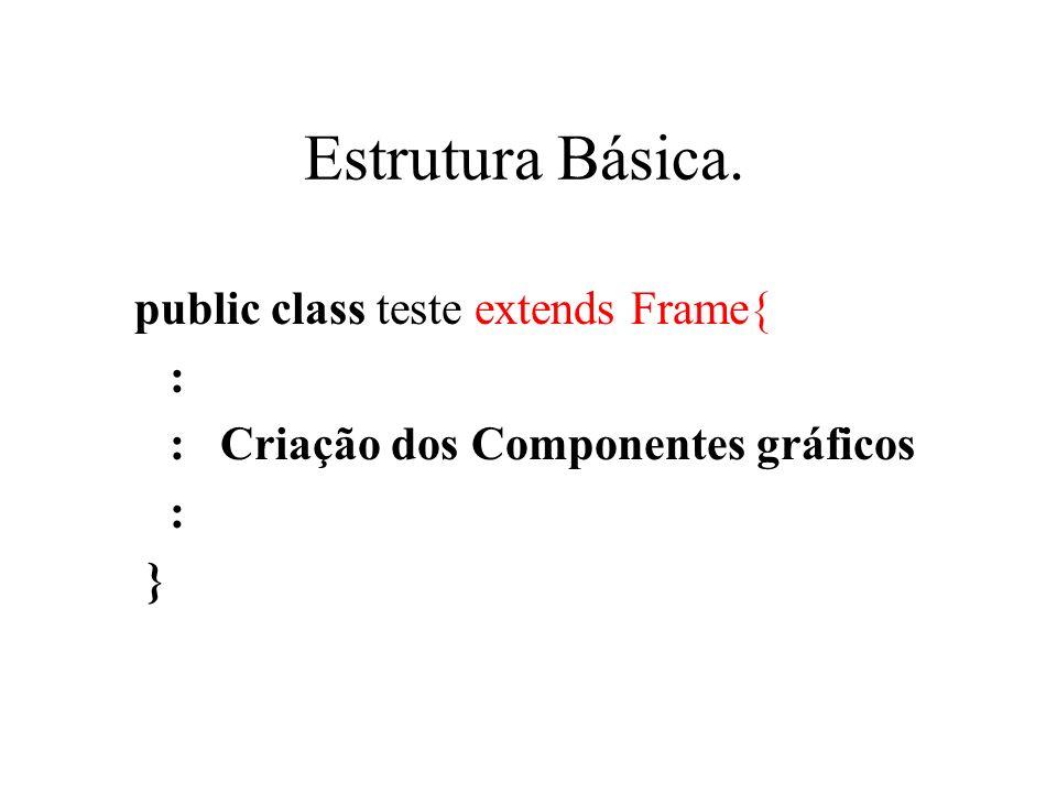 Estrutura Básica. public class teste extends Frame{ :