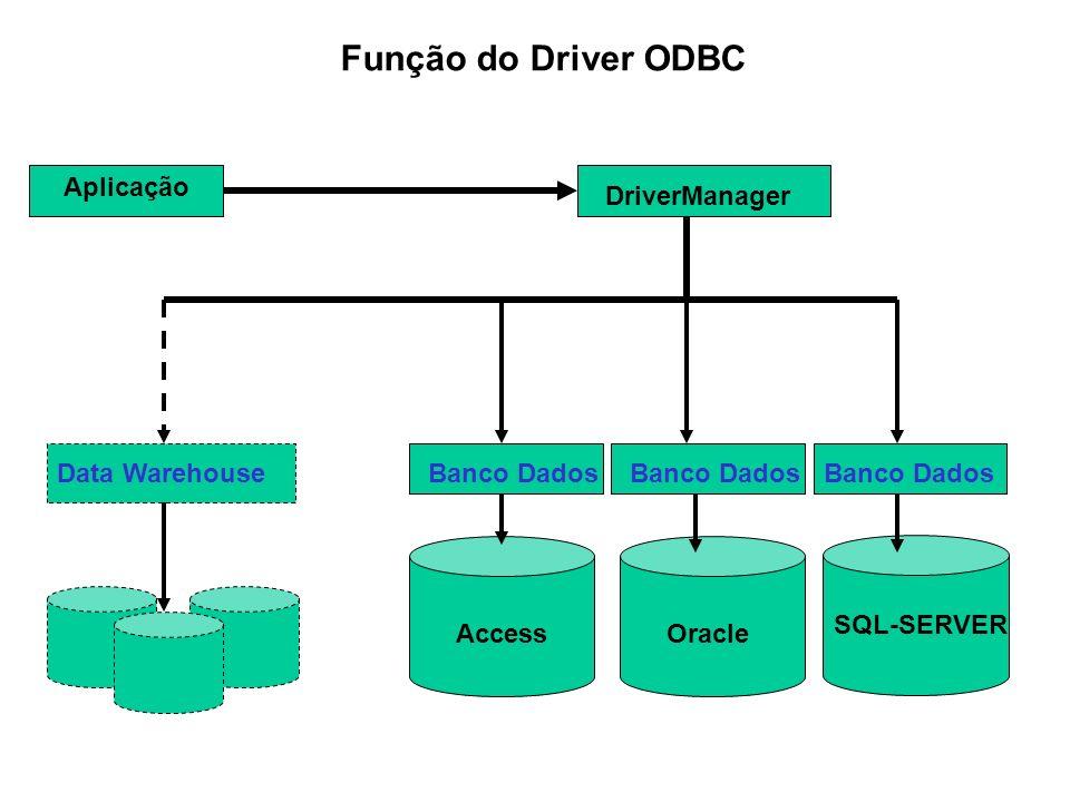 Função do Driver ODBC Aplicação DriverManager Data Warehouse