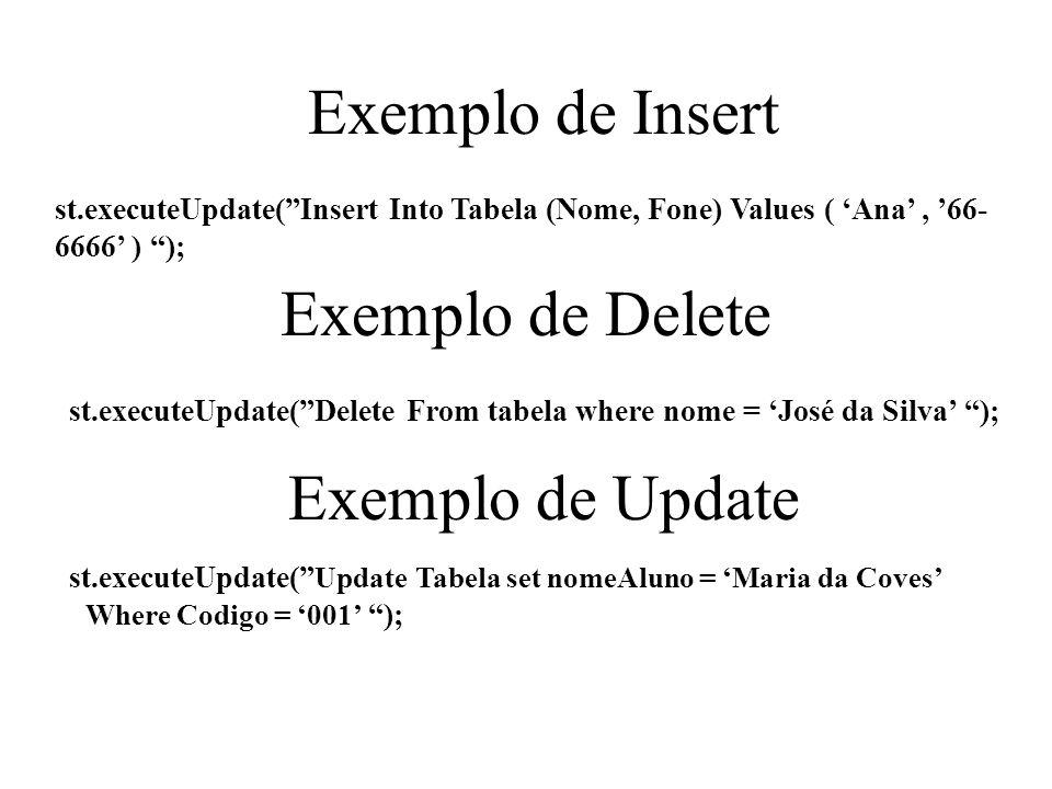 Exemplo de Insert Exemplo de Delete Exemplo de Update