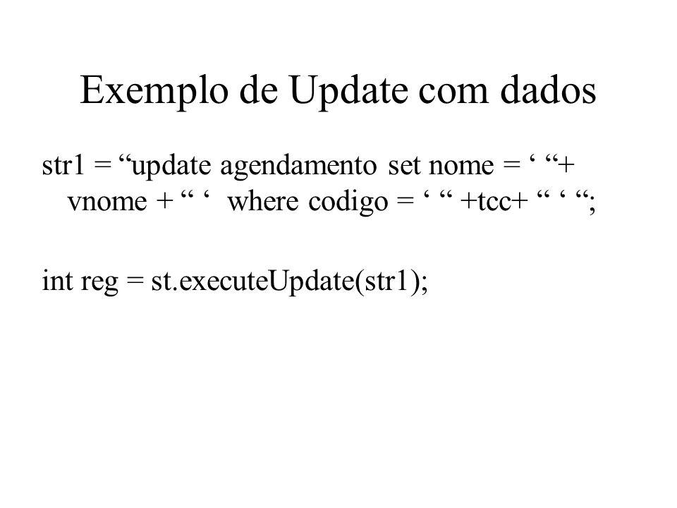 Exemplo de Update com dados