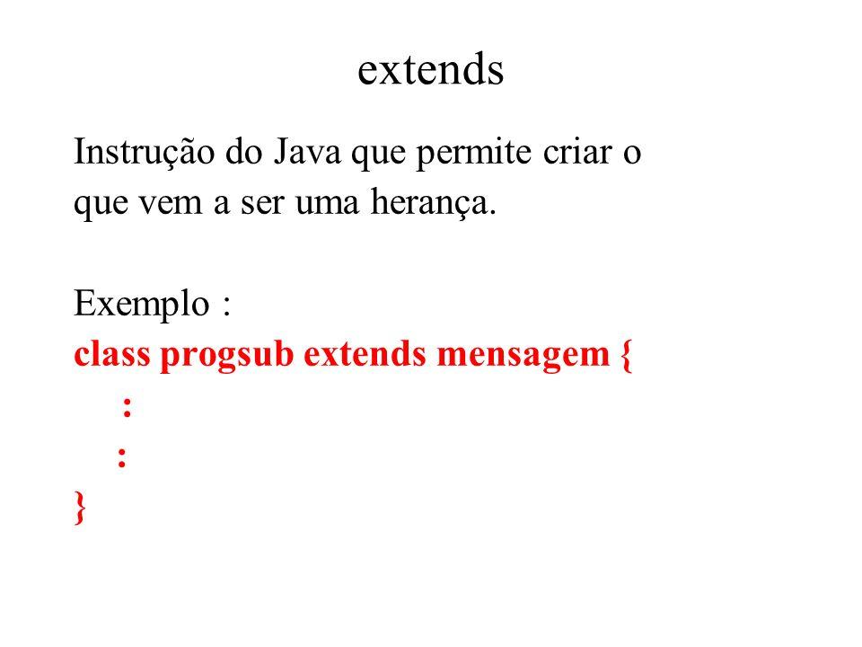 extends Instrução do Java que permite criar o