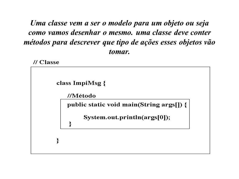 Uma classe vem a ser o modelo para um objeto ou seja como vamos desenhar o mesmo.