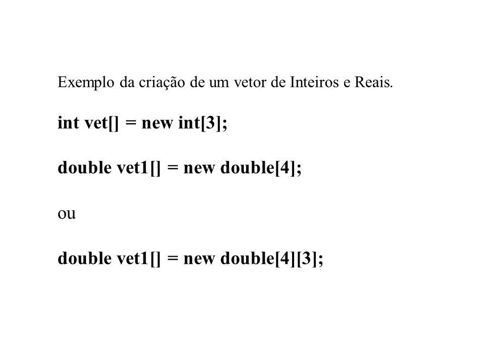 Exemplo da criação de um vetor de Inteiros e Reais