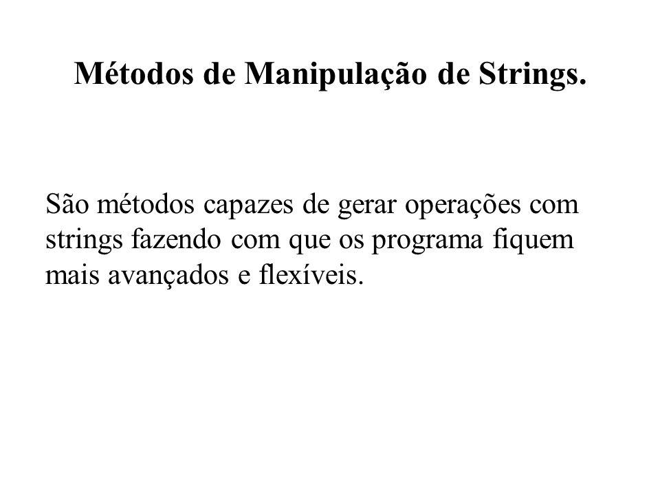 Métodos de Manipulação de Strings.