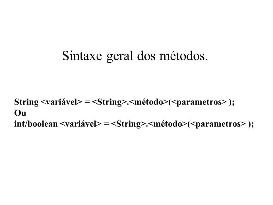 Sintaxe geral dos métodos. String <variável> = <String>