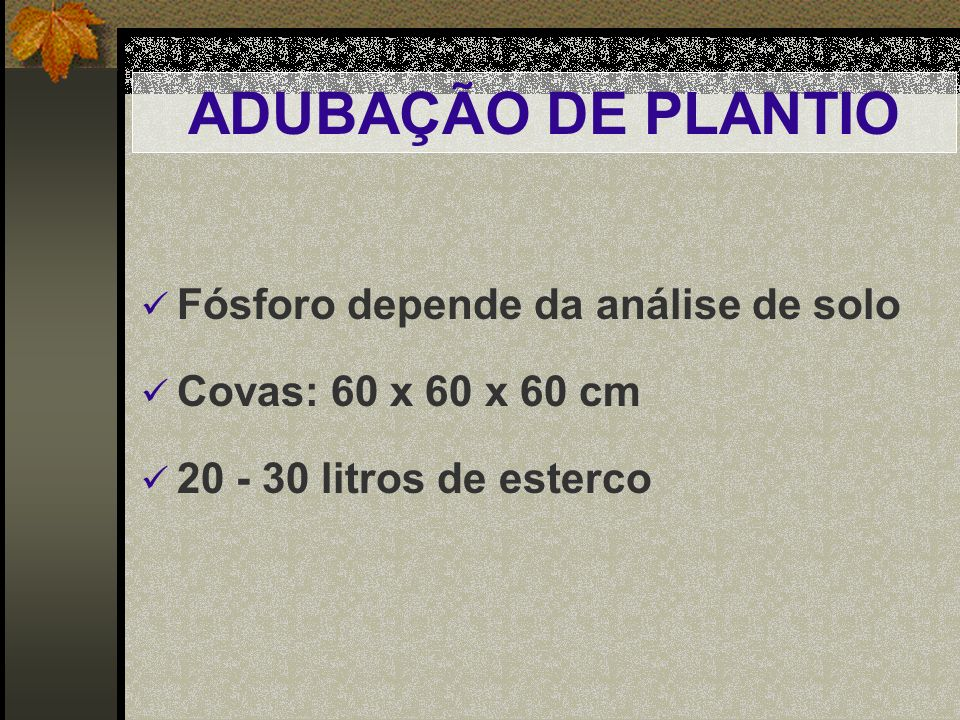 ADUBAÇÃO DE PLANTIO Fósforo depende da análise de solo
