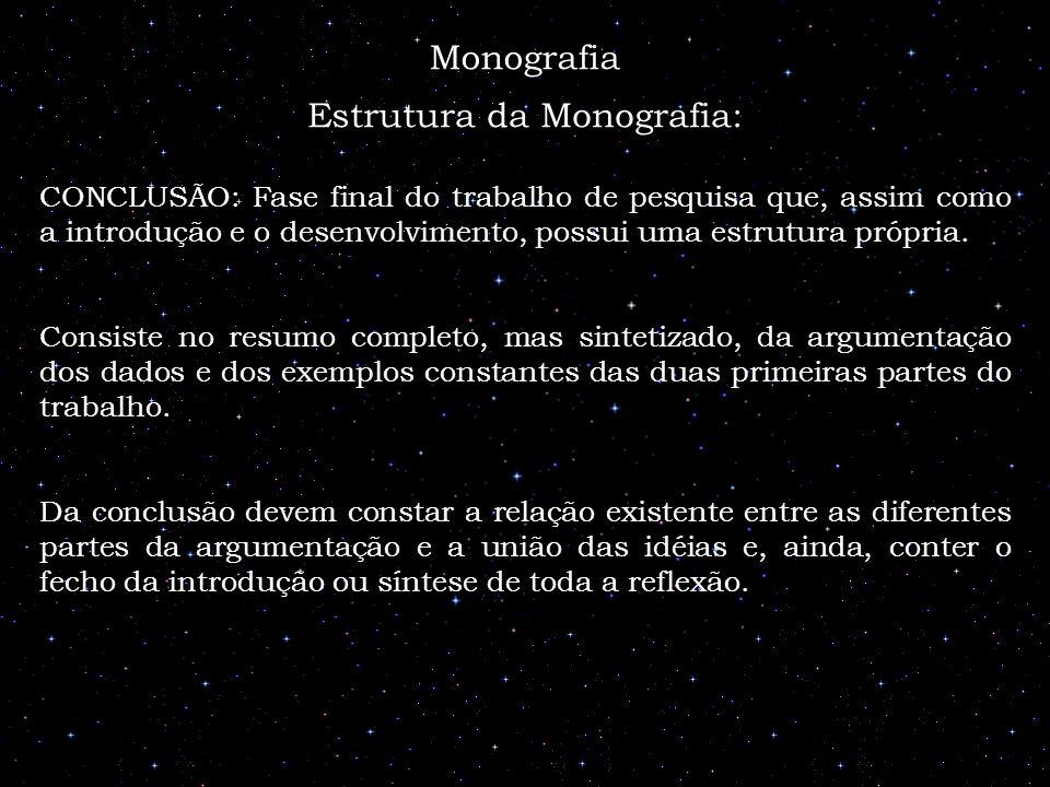 Estrutura da Monografia: