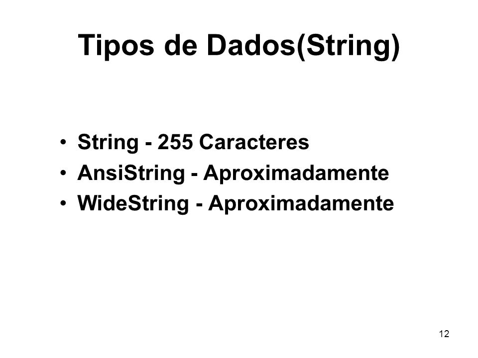 Tipos de Dados(String)