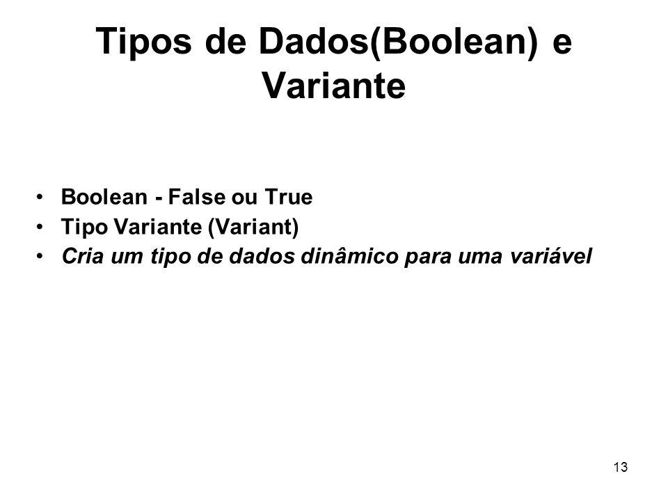 Tipos de Dados(Boolean) e Variante