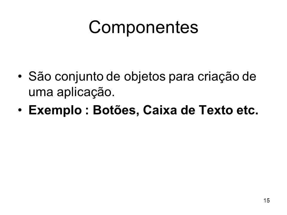 Componentes São conjunto de objetos para criação de uma aplicação.