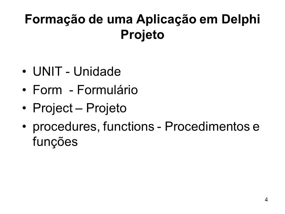 Formação de uma Aplicação em Delphi Projeto