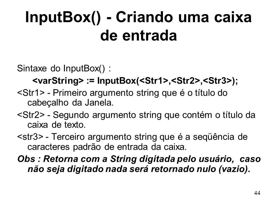 InputBox() - Criando uma caixa de entrada