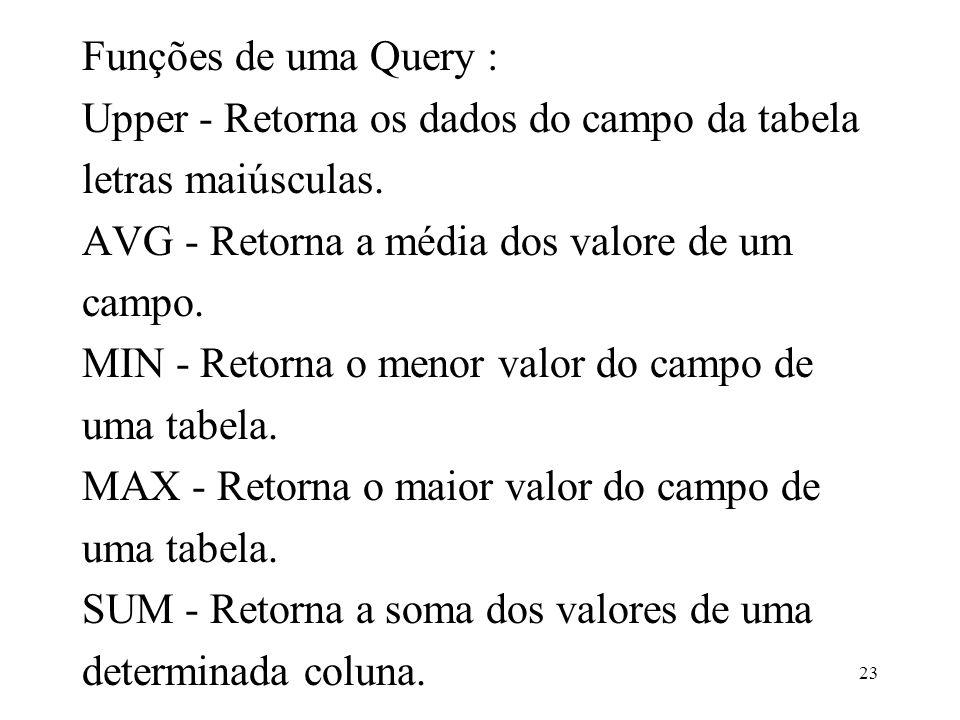 Funções de uma Query :Upper - Retorna os dados do campo da tabela. letras maiúsculas. AVG - Retorna a média dos valore de um.
