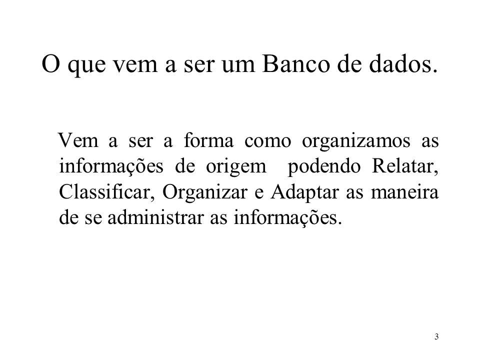 O que vem a ser um Banco de dados.