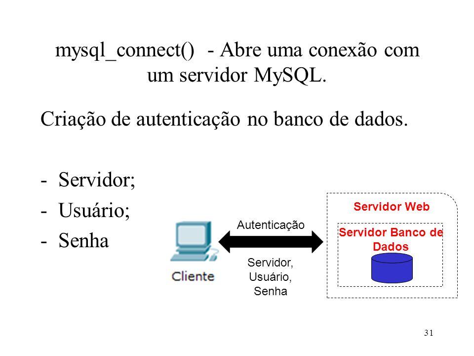 mysql_connect() - Abre uma conexão com um servidor MySQL.
