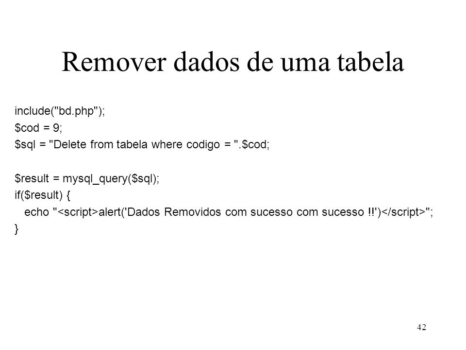 Remover dados de uma tabela