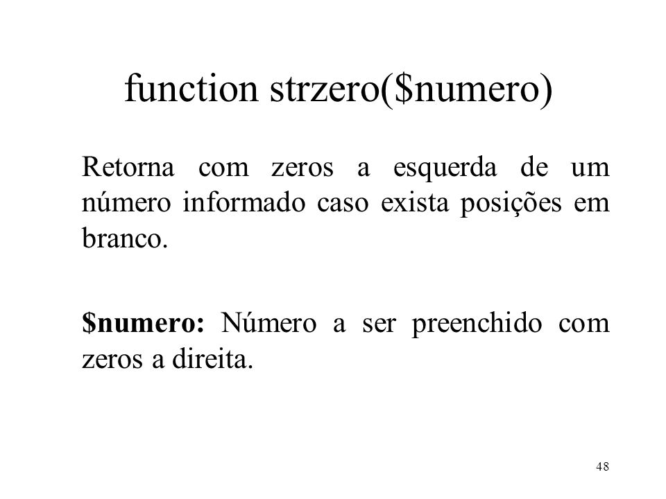 function strzero($numero)