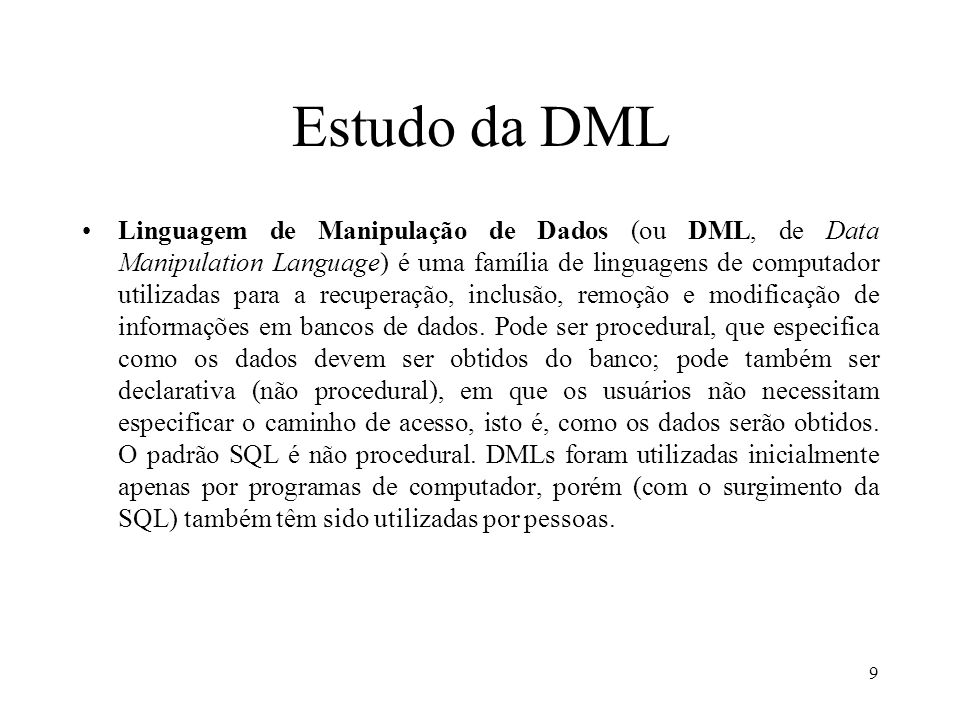 Estudo da DML
