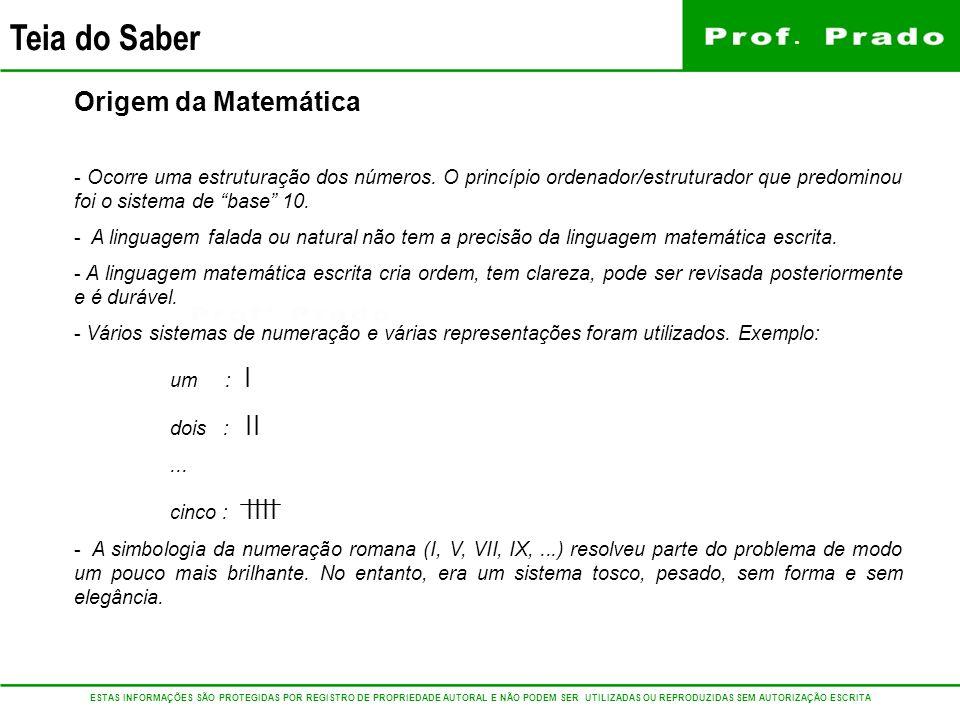 Origem da Matemática Ocorre uma estruturação dos números. O princípio ordenador/estruturador que predominou foi o sistema de base 10.