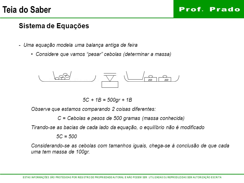 Sistema de Equações Uma equação modela uma balança antiga de feira