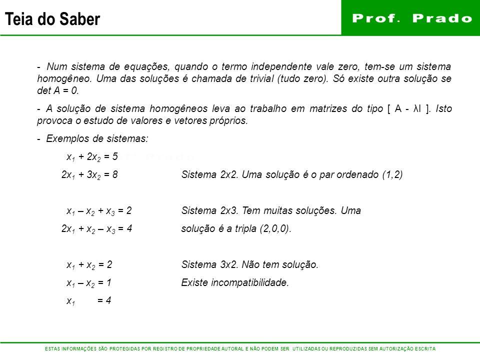 Num sistema de equações, quando o termo independente vale zero, tem-se um sistema homogêneo. Uma das soluções é chamada de trivial (tudo zero). Só existe outra solução se det A = 0.