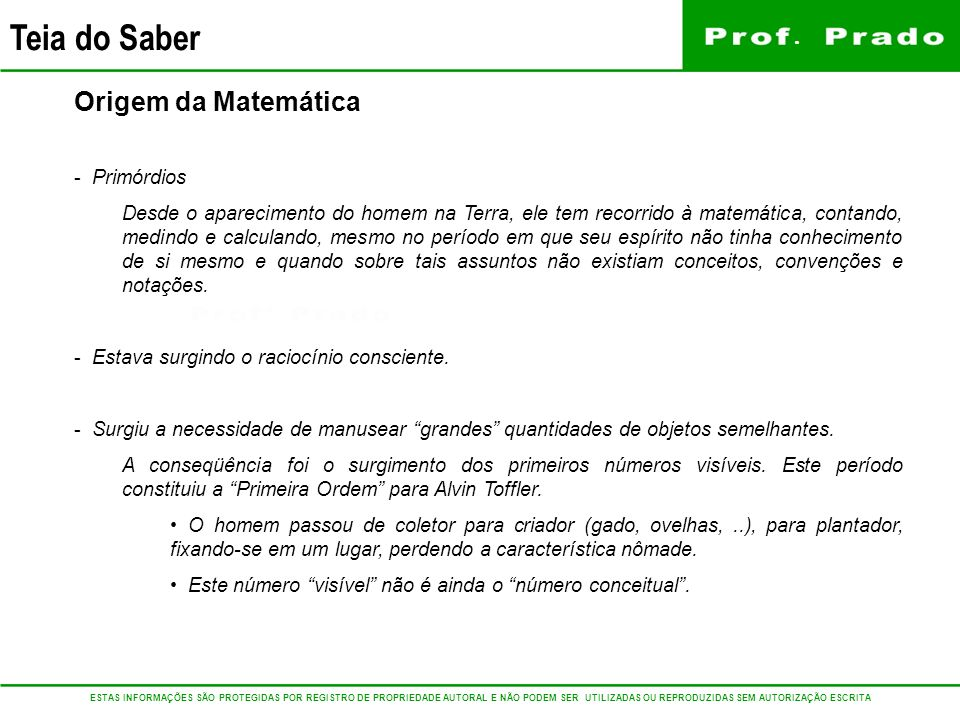 Origem da Matemática Primórdios