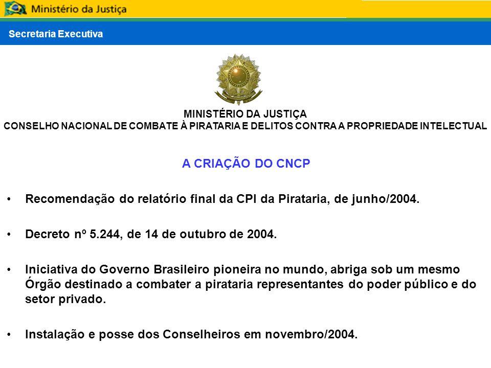 A CRIAÇÃO DO CNCP Recomendação do relatório final da CPI da Pirataria, de junho/2004. Decreto nº 5.244, de 14 de outubro de 2004.