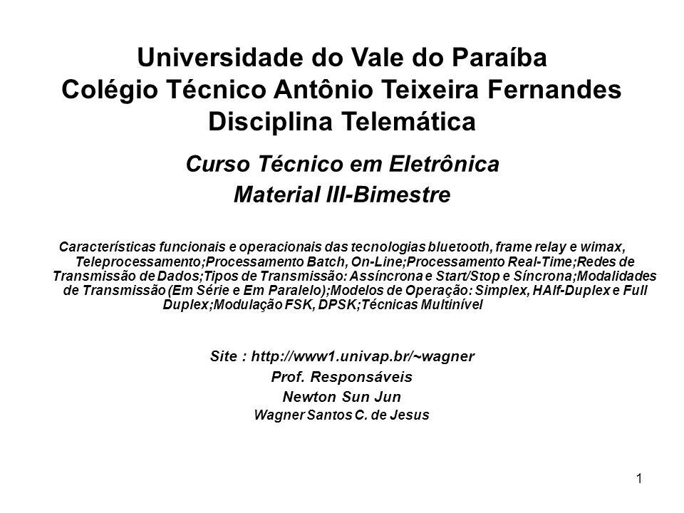 Universidade do Vale do Paraíba Colégio Técnico Antônio Teixeira Fernandes Disciplina Telemática
