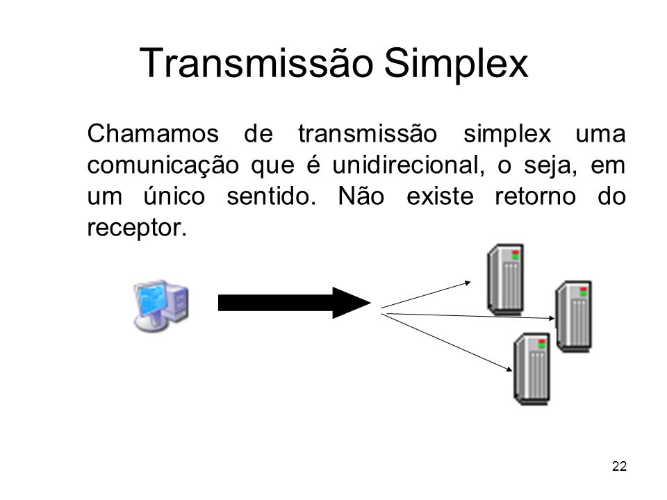 Transmissão Simplex Chamamos de transmissão simplex uma comunicação que é unidirecional, o seja, em um único sentido.