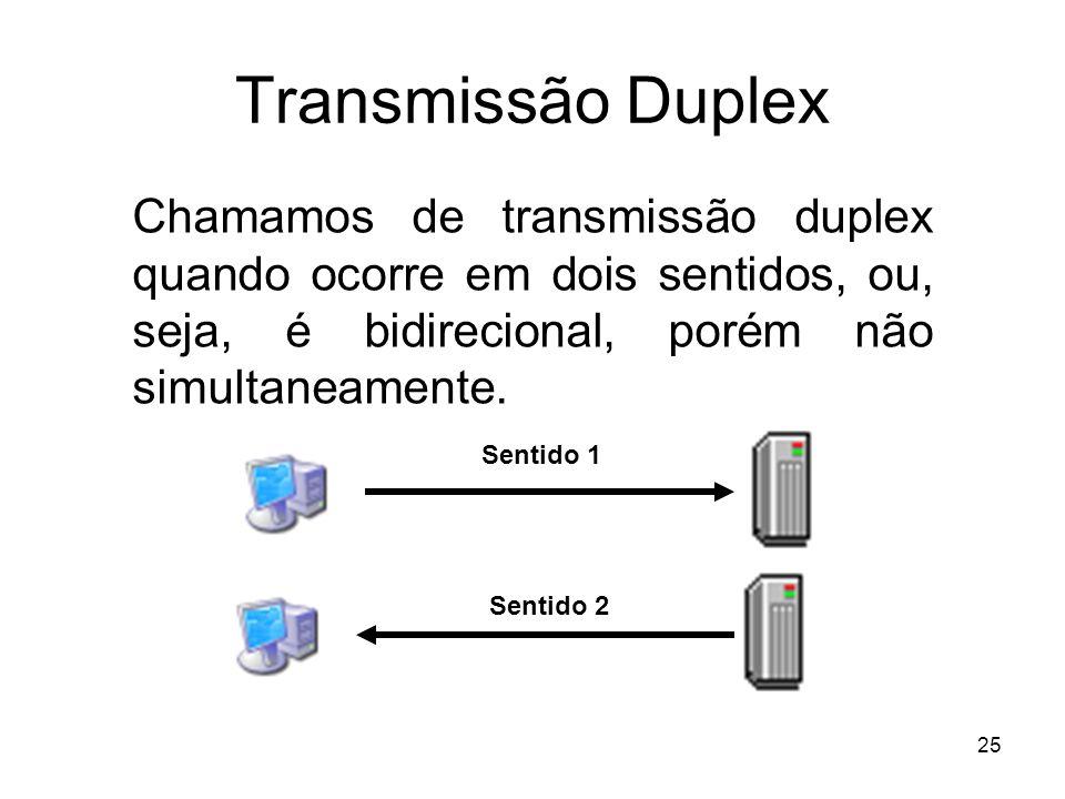 Transmissão Duplex Chamamos de transmissão duplex quando ocorre em dois sentidos, ou, seja, é bidirecional, porém não simultaneamente.