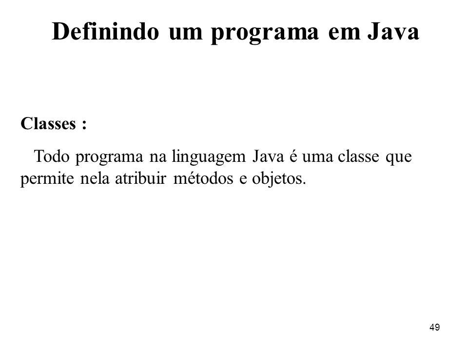 Definindo um programa em Java