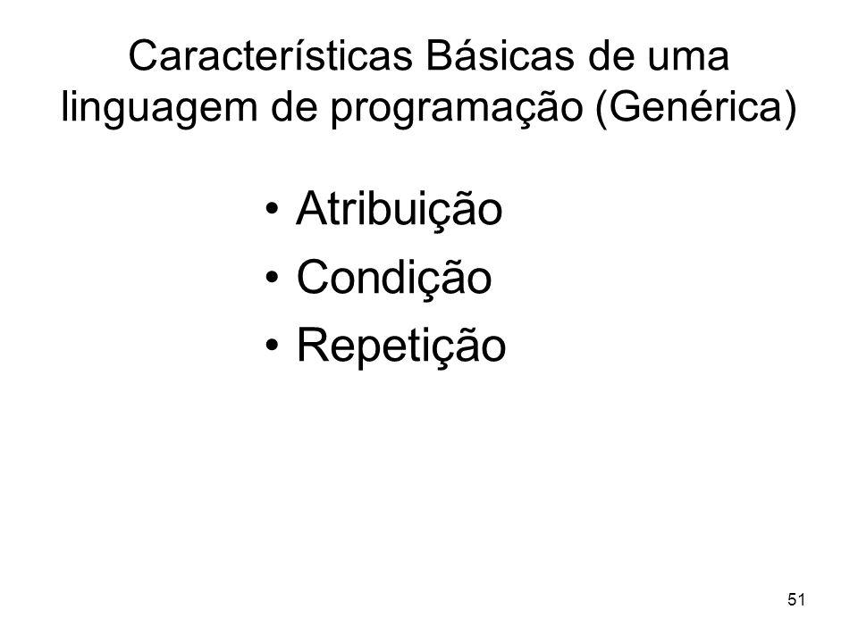 Características Básicas de uma linguagem de programação (Genérica)
