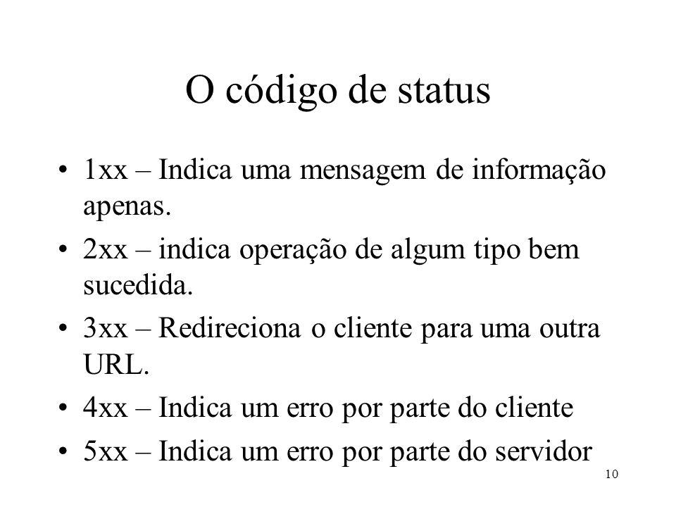 O código de status 1xx – Indica uma mensagem de informação apenas.