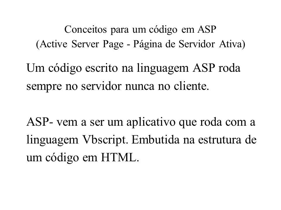 Um código escrito na linguagem ASP roda