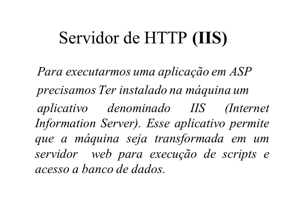 Servidor de HTTP (IIS) Para executarmos uma aplicação em ASP