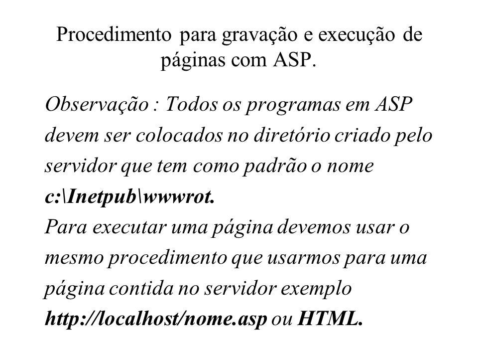 Procedimento para gravação e execução de páginas com ASP.