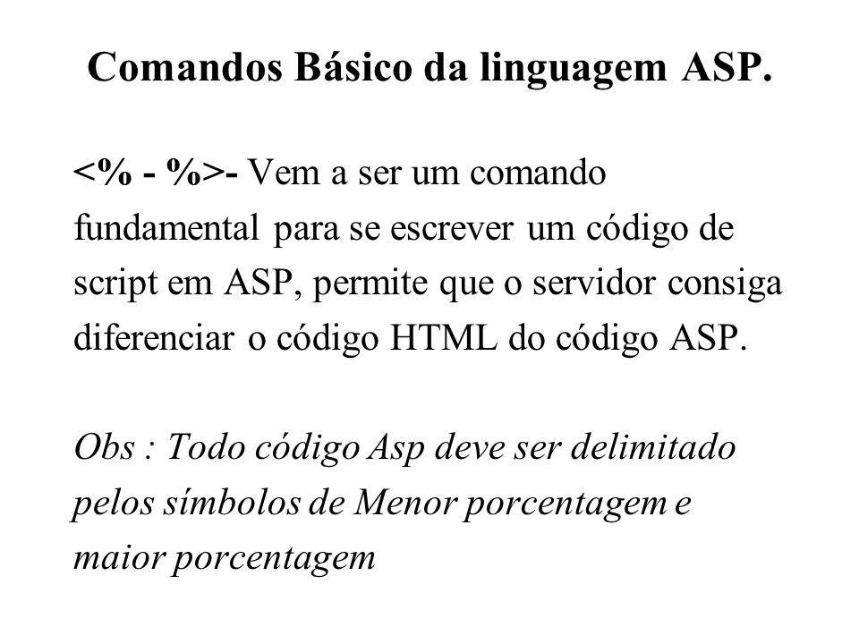 Comandos Básico da linguagem ASP.