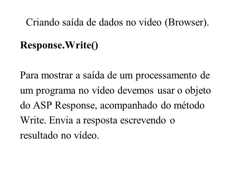 Criando saída de dados no video (Browser).