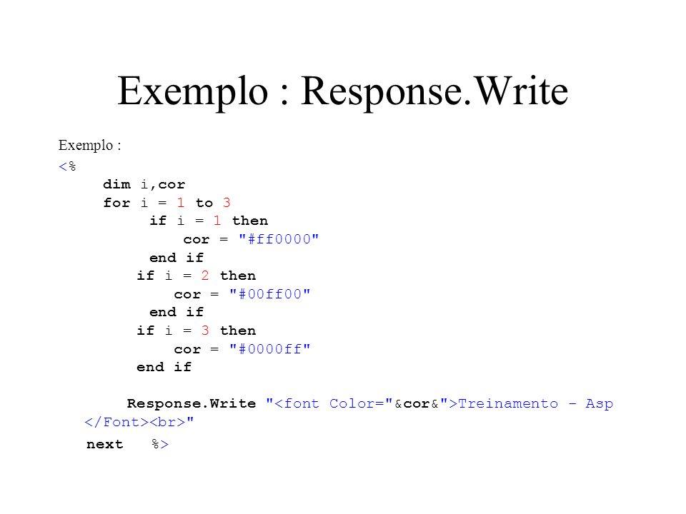 Exemplo : Response.Write