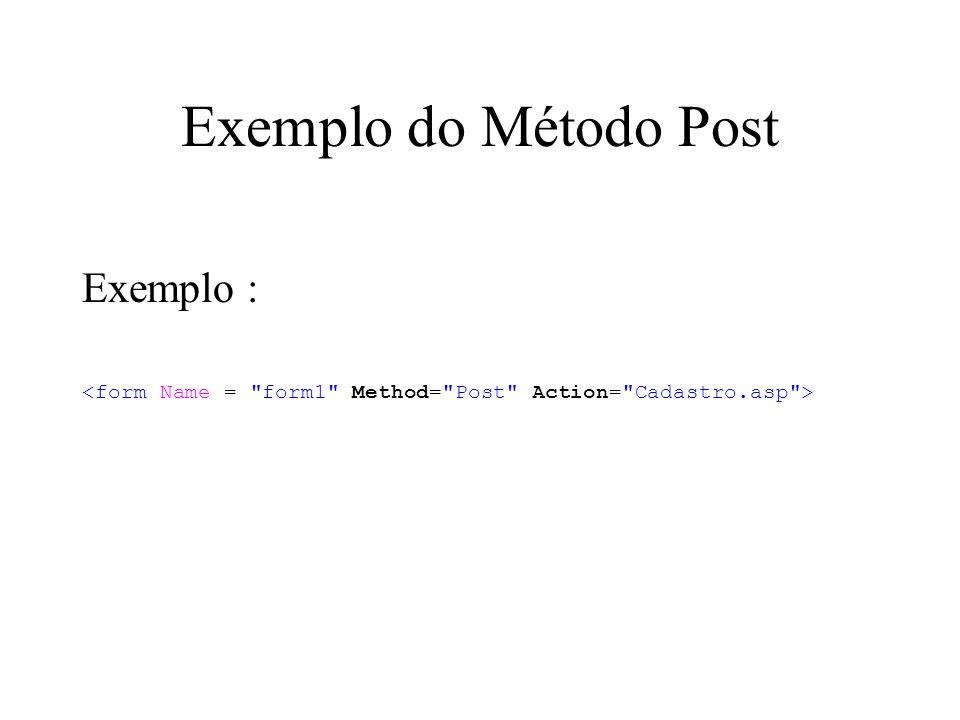 Exemplo do Método Post Exemplo :