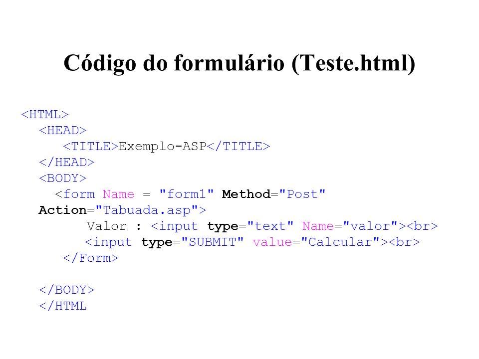 Código do formulário (Teste.html)