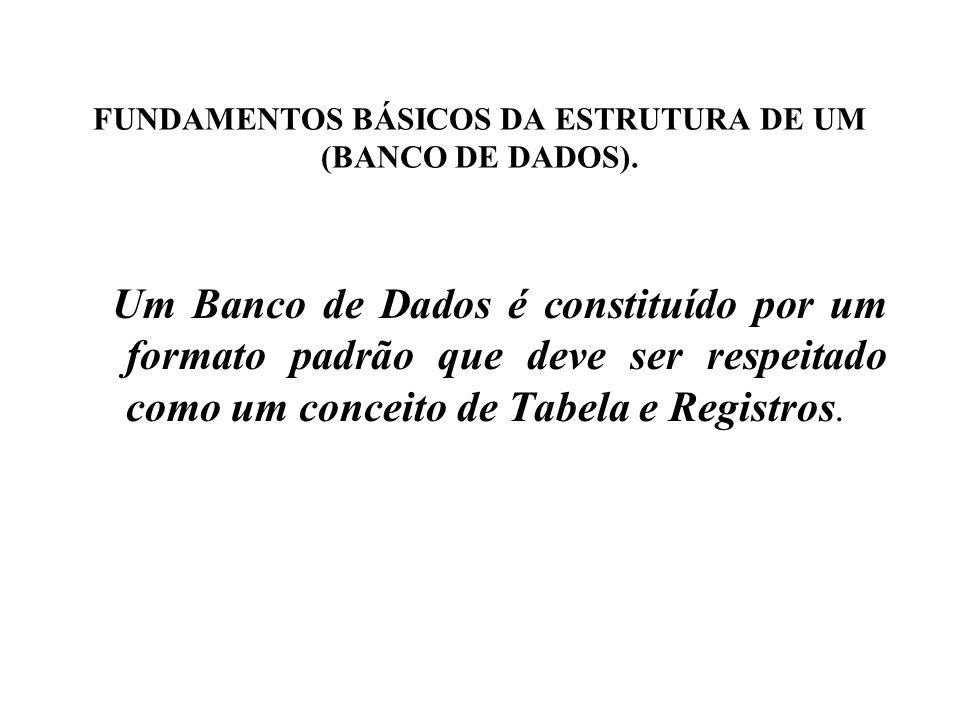 FUNDAMENTOS BÁSICOS DA ESTRUTURA DE UM (BANCO DE DADOS).