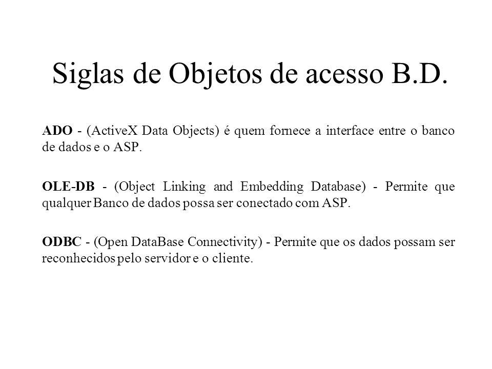 Siglas de Objetos de acesso B.D.