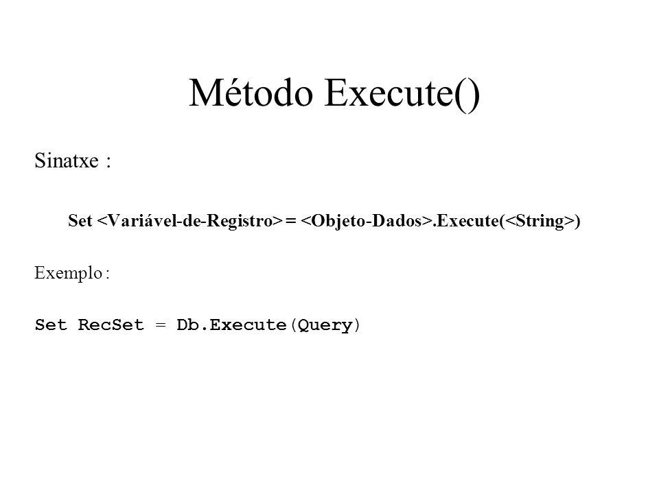 Método Execute() Sinatxe :