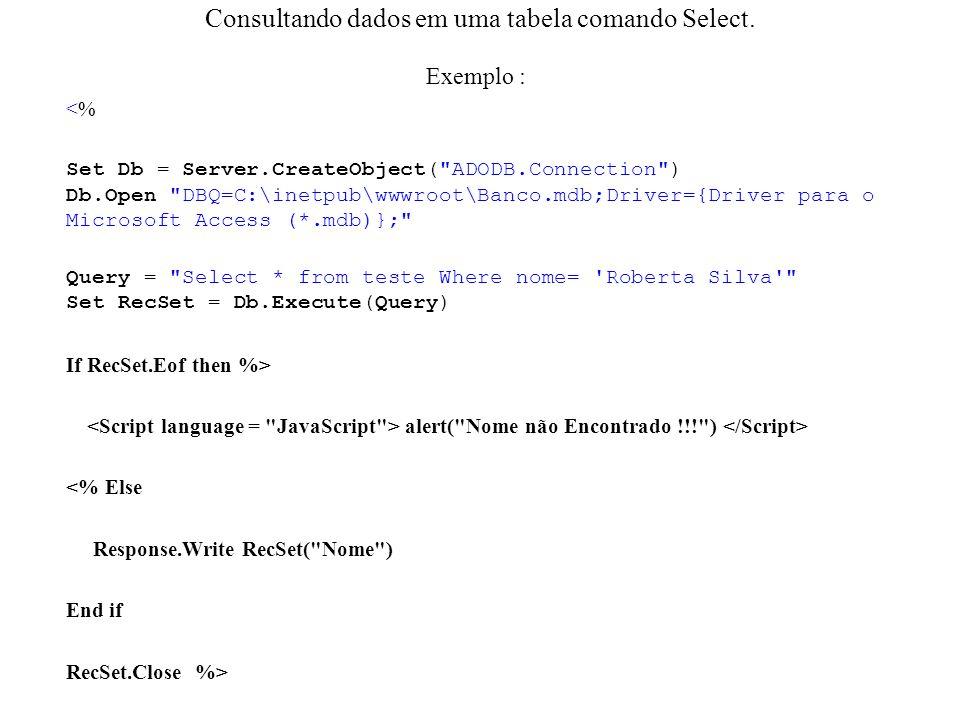 Consultando dados em uma tabela comando Select.