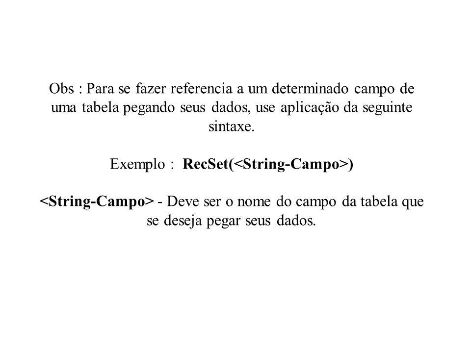 Obs : Para se fazer referencia a um determinado campo de uma tabela pegando seus dados, use aplicação da seguinte sintaxe.