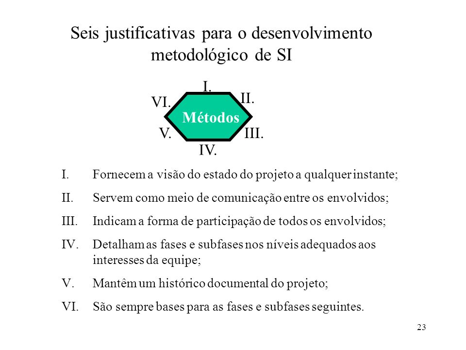 Seis justificativas para o desenvolvimento metodológico de SI